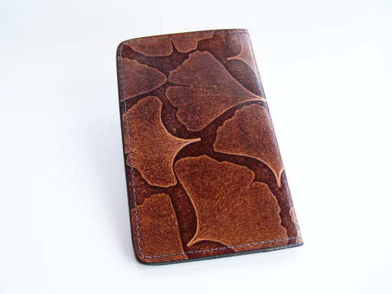 Brown Leather Checkbook Cover with Celtic RopeKnot Design Leather Check Book Holder