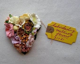 Blue pink lilac aqua peach red roses daisies Handmade Vintage style Millinery flower corsage