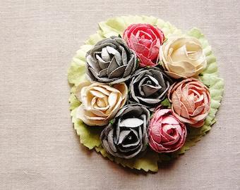 Pewter blue cream Blush Pink mint green miniature rose corsage handmade millinery bouquet embellishment
