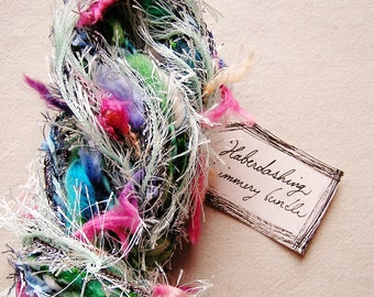Garden Party green blue pink pastel fringe mix Novelty Fiber Yarn Sampler Bundle