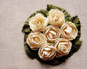Cream moss green miniature rose corsage handmade millinery bouquet embellishment