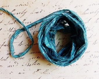Teal Blue Linen Blend Pinstriped Ribbon -striped woven millinery trim baby hair bow headband supply ribbonwork fiber art trimming