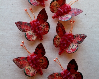 sparkly butterfly vintage style pipe cleaner ornaments Strawberry pink miniature Watercolor embellishments