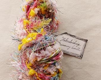 Sugar Rush pastel rainbow trim fringe Novelty Fiber Yarn Pom Sampler Bundle
