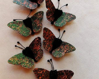 Orange pewter black watercolor embellishments - sparkly butterflies vintage style pipe cleaner ornaments