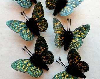 Lemon Yellow black speckled Watercolor embellishments - sparkly butterflies vintage style pipe cleaner ornaments