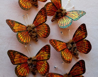 Tangerine yellow hazelnut Watercolor embellishments - sparkly butterflies vintage style pipe cleaner ornaments
