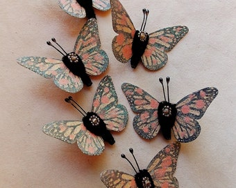 Warm pink peach watercolor embellishments - sparkly butterflies vintage style pipe cleaner ornaments