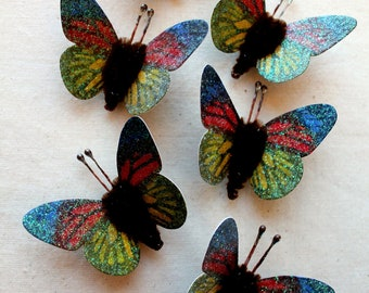 Red blue yellow chartreuse green chocolate Watercolor embellishments - sparkly butterflies vintage style pipe cleaner ornaments