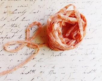 Persimmon Orange Linen Blend Pinstriped Ribbon -striped woven millinery trim baby hair bow headband supply ribbonwork fiber art trimming
