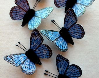 Princess Blue Watercolor embellishments - sparkly butterflies vintage style pipe cleaner ornaments