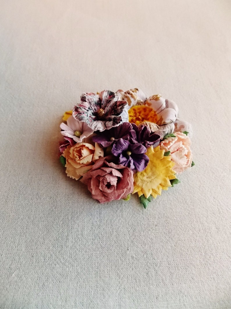 Yellow violet lilac blush pink peach Gardenia blossom daisies vintage style floral Corsage Hand crafted Hair Bow Supply