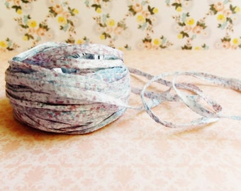 Sky Blue Berry Cream Speckled Mako Cotton Ribbon ~European dotted trim egyptian baby kids wedding hair bow band supply, gift wrap favor