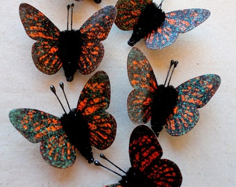 Mandarin orange black speckled Watercolor embellishments - sparkly butterflies vintage style pipe cleaner ornaments
