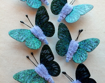 Deep blue periwinkle Watercolor embellishments - sparkly butterflies vintage style pipe cleaner ornaments