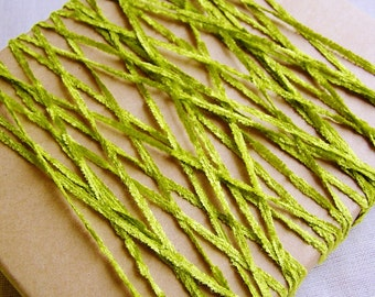 Chartreuse Green Crushed Chenille Ribbon- silky vintage style velveteen trimming, wedding party crafts, doll miniature crafting- 15 yds