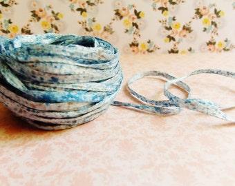 Sky Blue Malt white Speckled Mako Cotton Ribbon ~European dotted trim egyptian baby kids wedding hair bow band supply, gift wrap favor