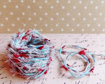Aqua Pebble Cherry Red multicolor Confetti Twist novelty ribbon- fiber art european specialty trim scrapbook embellishment gift wrap supply