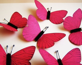 Scarlet/ Chocolate Vintage style classic Butterflies - for decorating, gift wrapping, altered art, weddings, embellishment, holiday