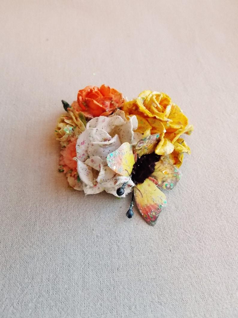 Lemon yellow orange white daisy pastel rainbow glitter glittered butterfly Handmade Roses Vintage style Millinery flower corsage