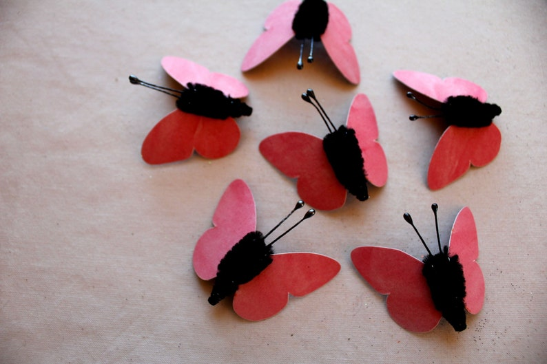 Cherry red pink black Watercolor embellishments sparkly butterflies vintage style pipe cleaner ornaments
