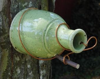 celedon green birdbottle