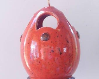 Red - Highfired stoneware clay birdfeeder