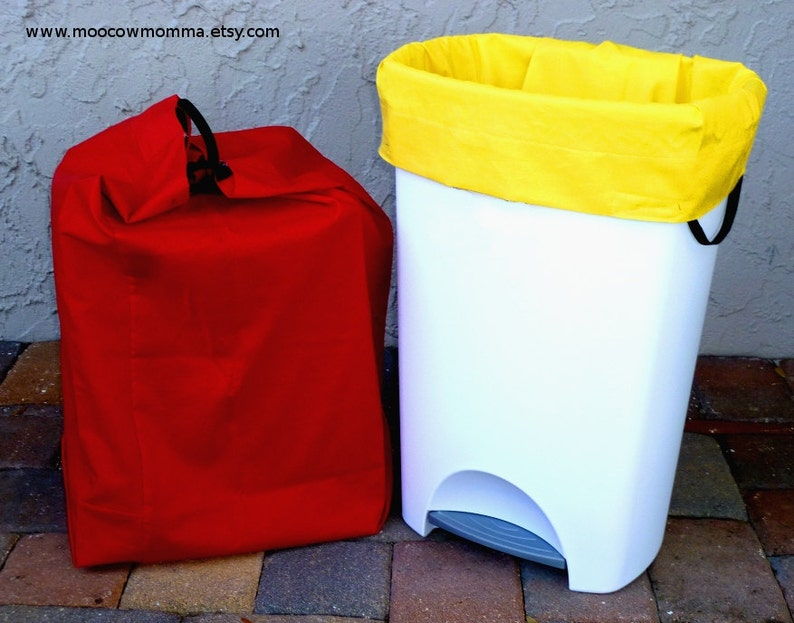 9ec707af6e1 Two Reusable Recycling Can   Garbage Bags Red and Yellow