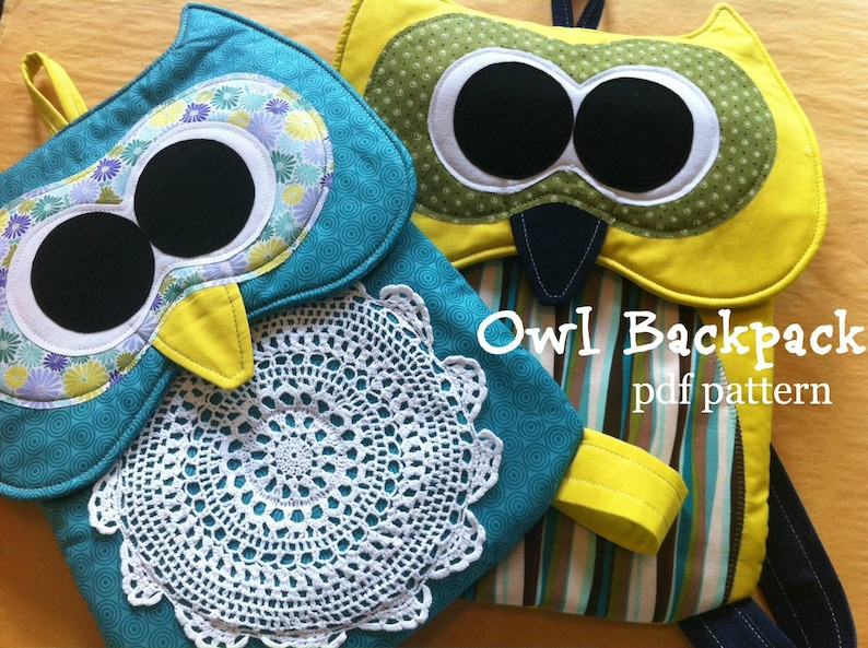 Owl Backpack Pattern INSTANT Download PDF Pattern image 0