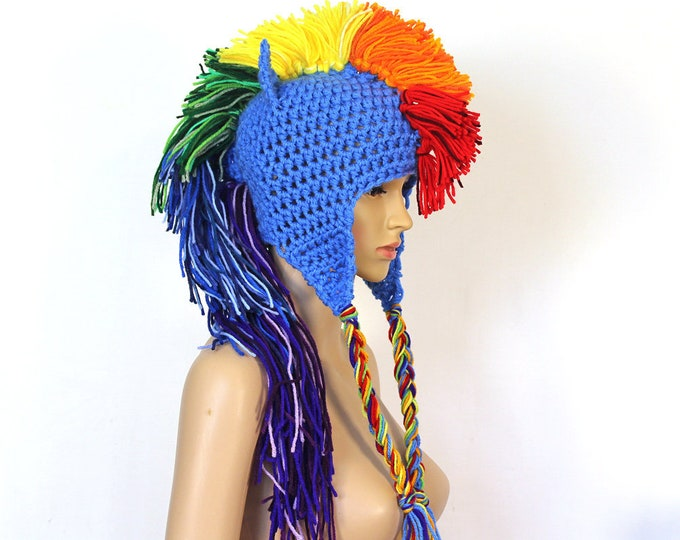 Rainbow Dash Inspired Blue Mohawk  Ear Flap Hat  with Horse Ears  Handmade Christmas Gift