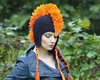 Black and Orange Mohawk Earflap Hat One of a Kind Crochet Handmade Gift