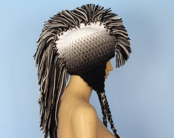 White to Black Ombre Fade Earflap Mohawk Hat