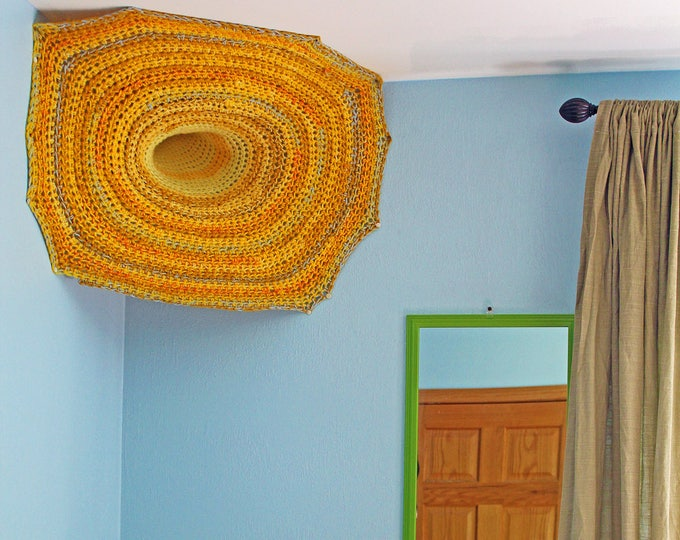 Portal Wall Fiber Wall Art Sculpture Yellow and Orange Ombre Hanging Crochet 3D Sculptural Tapestry Installation Tissage Unique Home Decor