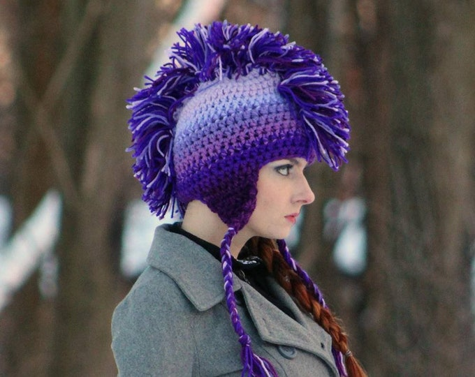 CUSTOM COLORS Your Choice Ombre Mohawk Hat Boyfriend Gift Warm Trapper Girlfriend Present  Ear Flap Hat