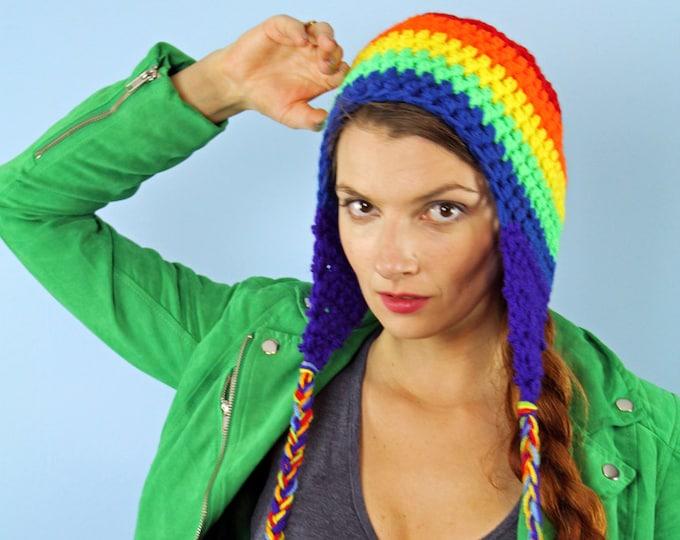 Rainbow EarFlap Hat Striped Beanie Handmade Christmas Gift Ready to Ship
