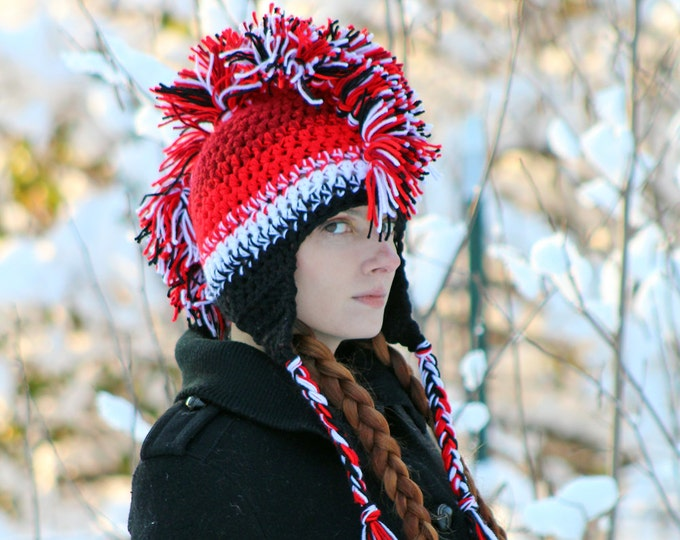 Mohawk Hat Red White & Black Ombre Fade Ear Flap Style Warm Winter Accessory Gift Idea for Men Women Teens or Children Handmade Christmas