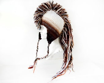 Mohawk Hat Earthy Brown Tones Ombre and White Handmade Christmas Gift Ready to ship Gift for Boyfriend