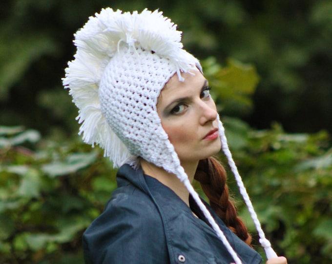 White Mohawk Ear Flap Hat Handmade Crochet Christmas Gift Ready to ship