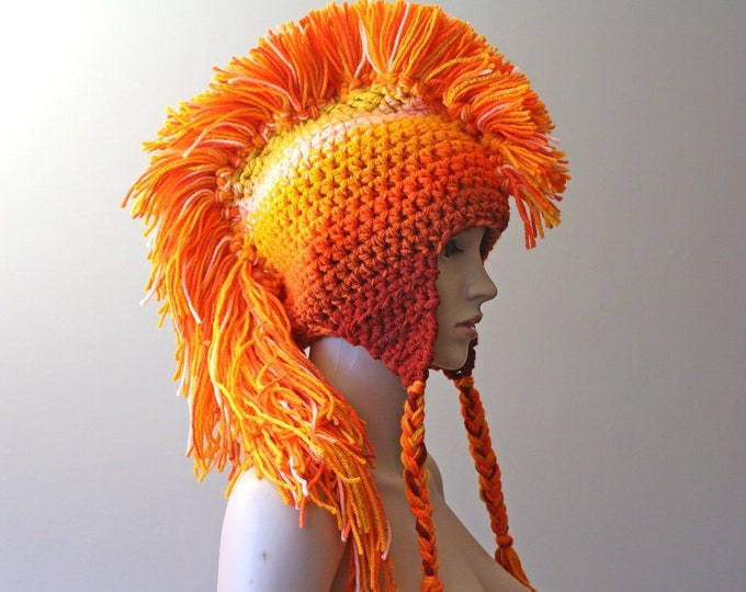 Orange Ombre Mohawk Hat Extreme Long Style Earflap Tuque