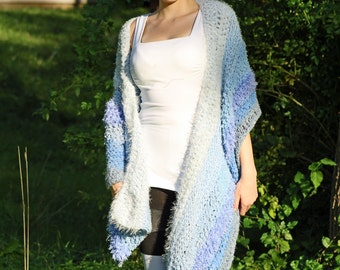 Blue One Sleeved Shawl Unique Asymmetrical Top Sweater Women chic jacket Handmade Christmas Gift Ready to ship