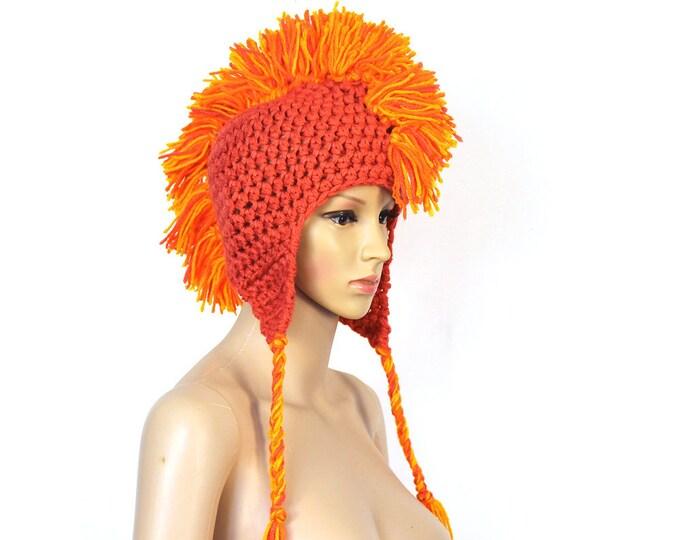 Orange MoHawk Ear Flap Hat For Winter Handmade One of a Kind Gift