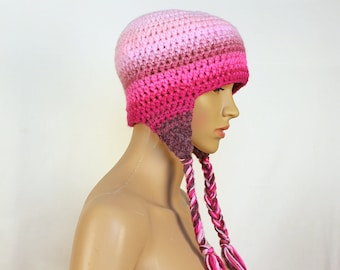 Pink Fade Ombre Ear Flap Hat Winter Beanie Toque Perfect Gift for Women or Girls