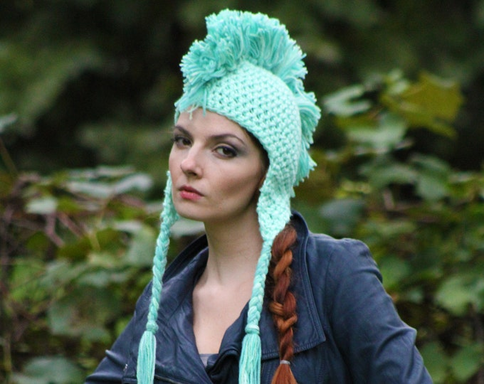 Mint Green Mohawk Hat Handmade Unique Gifts For Men Women Boys and Girls Christmas Gift