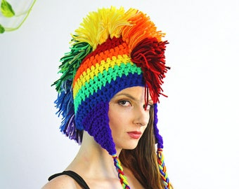Rainbow Mohawk Ear Flap Beanie Hat Handmade Fall or Winter   LGBTQ Pride  Beanie Cap Girlfriend or Boyfriend Gift