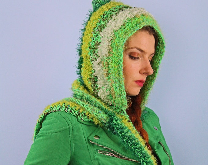 Hooded Scarf Green Crochet  Soft Snood Skood Winter Christmas Gift for Adults, Women, Teens and Children Handmade ready to ship