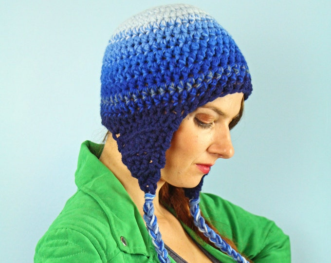 Blue Ombre Ear Flap Hat Blue Gradient Hat Great Gift for Children Teens or Adults Men and Women
