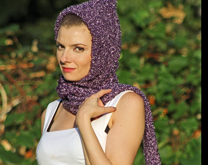 Purple Hooded Scarf Snood Skood Gifts for Her