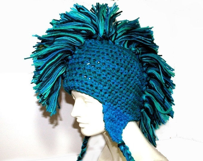 Teal and Blue Mohawk Earflap  Beanie Hat Handmade Gift Stocking Stuffer for Men, Women Teens Boys and Girls