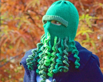 Cthulhu Ski Mask Warm Hat Green Beanie  Knit Handmade Gift for Him