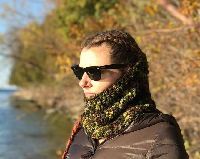 Infinity Scarf Green and Brown Cowl  Camouflage Hunter Chunky Handmade  Gift Ready to ship